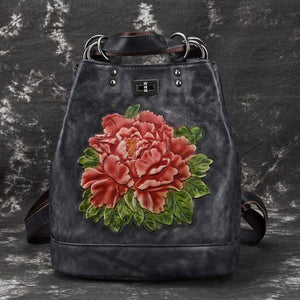 Open image in slideshow, Genuine Leather Embossed Flower Backpack