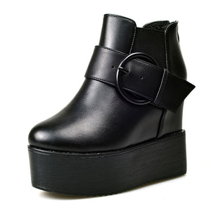 Open image in slideshow, Buckle Platform Ankle Boots