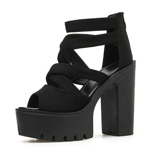 Open image in slideshow, Block Heels Platform Sandals