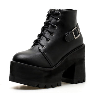 Open image in slideshow, Lace Up Platform Ankle Booties