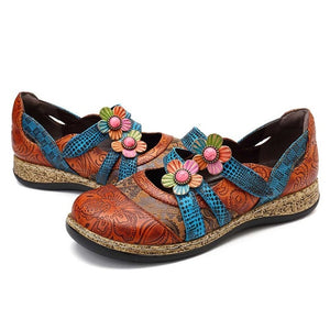 Open image in slideshow, Genuine Leather Flower Flats