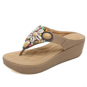 Open image in slideshow, Flower Thong Wedge Sandals