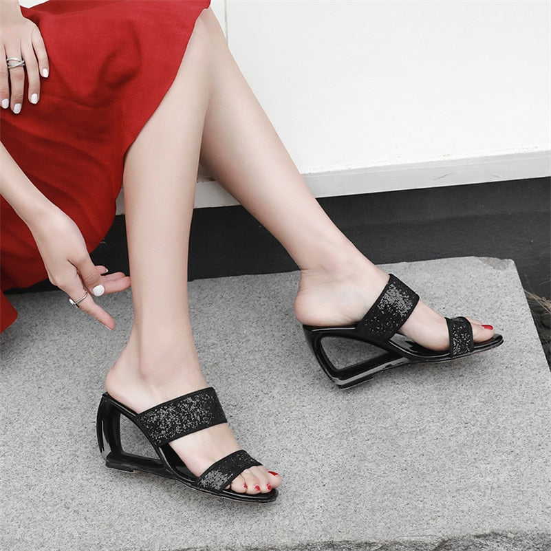 Sparkly Hollow Heel Wedge Sandals