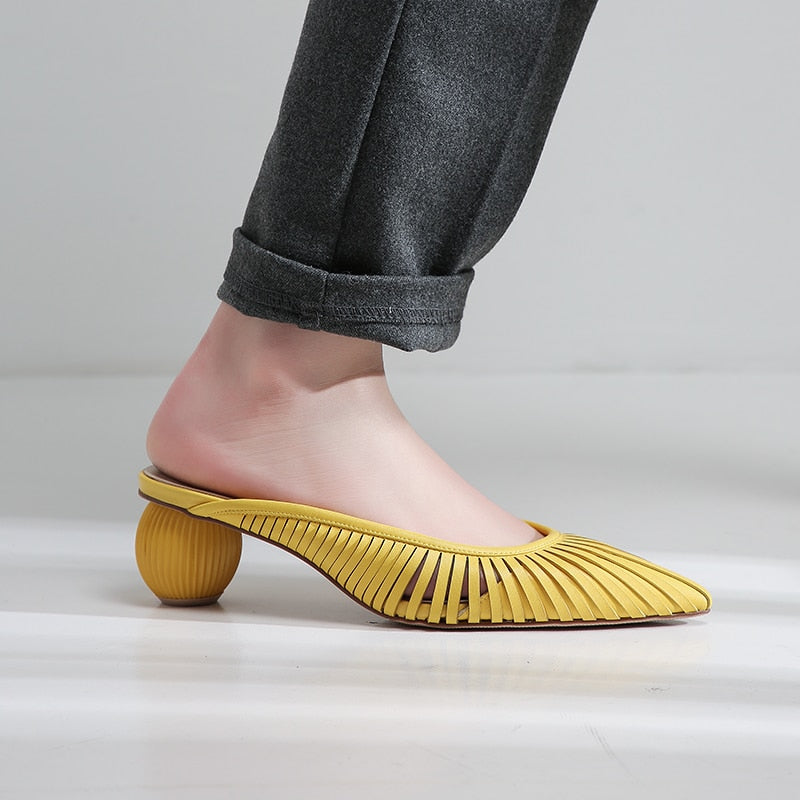 Genuine Leather Medium Heel Slides