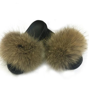 Open image in slideshow, Real Fox Fur Slippers