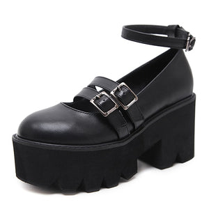 Open image in slideshow, Ankle Strap Chunky Platform Creepers