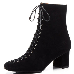 Open image in slideshow, Suede Lace Up Ankle Boots