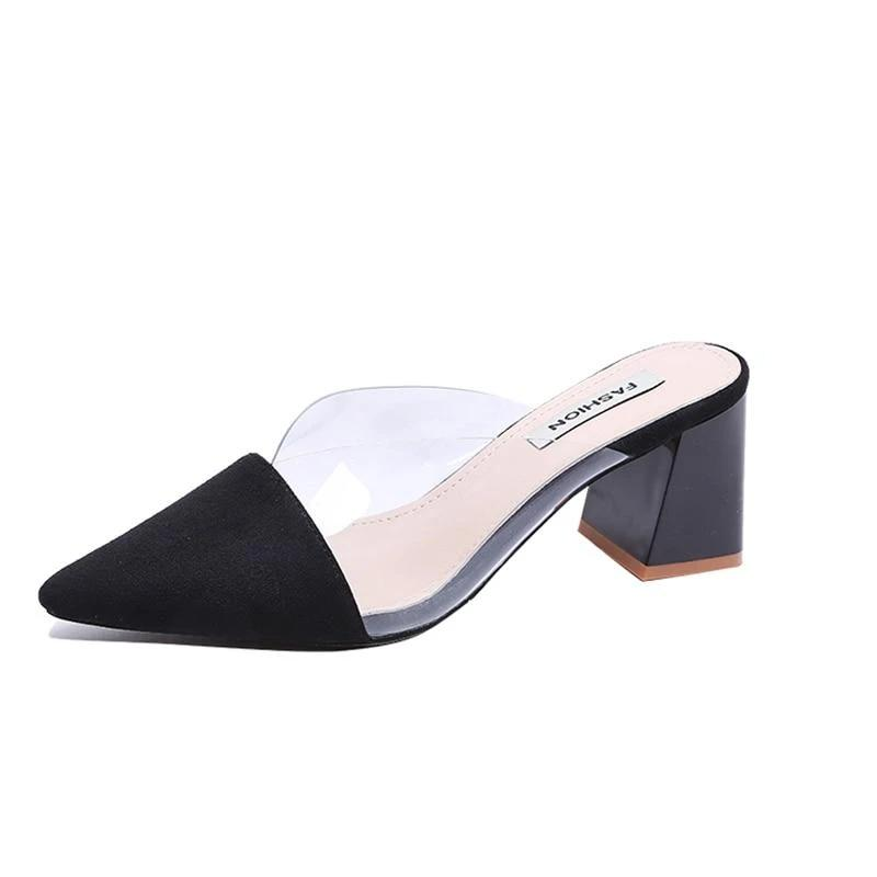 Transparent Pointed Toe Mules