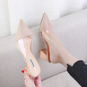 Open image in slideshow, Transparent Pointed Toe Mules