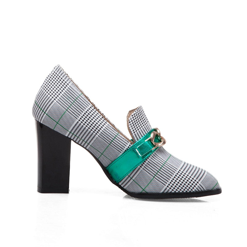 Chunky Heel Plaid Pumps