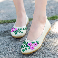 Load image into Gallery viewer, Embroidered Floral Ballet Flats