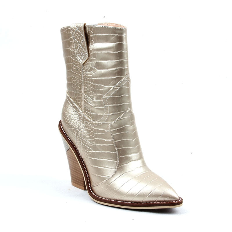 Cowgirl Pointed Toe Ankle Boots