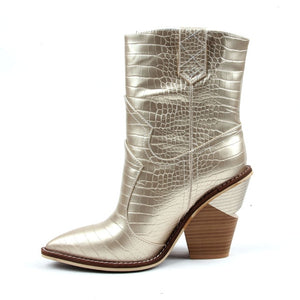 Open image in slideshow, Cowgirl Pointed Toe Ankle Boots