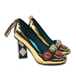 Open image in slideshow, Leather Gold Flower Heels