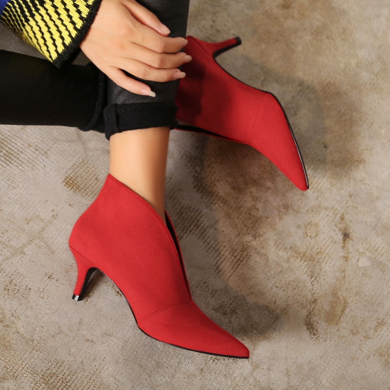 Genuine Leather Pointed Toe Booties