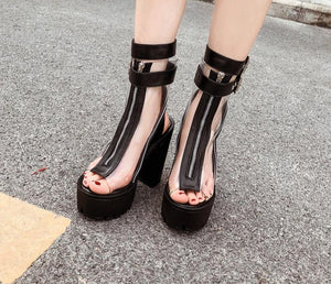 Transparent Peep Toe Sandals