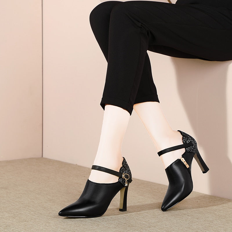 Ankle Strap Leather Pumps