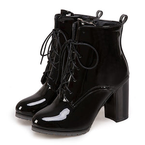 Open image in slideshow, Patent Leather Ankle Boots