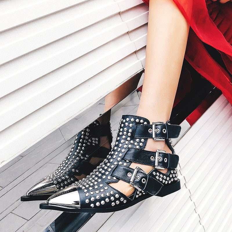 Metal Studded Rivet Booties