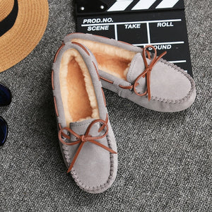 Open image in slideshow, Genuine Leather Plush Moccasins