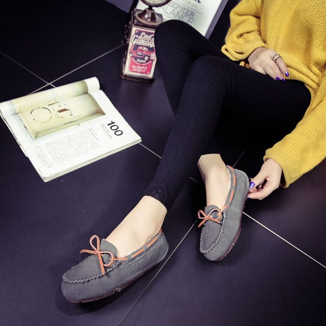 Genuine Leather Plush Moccasins