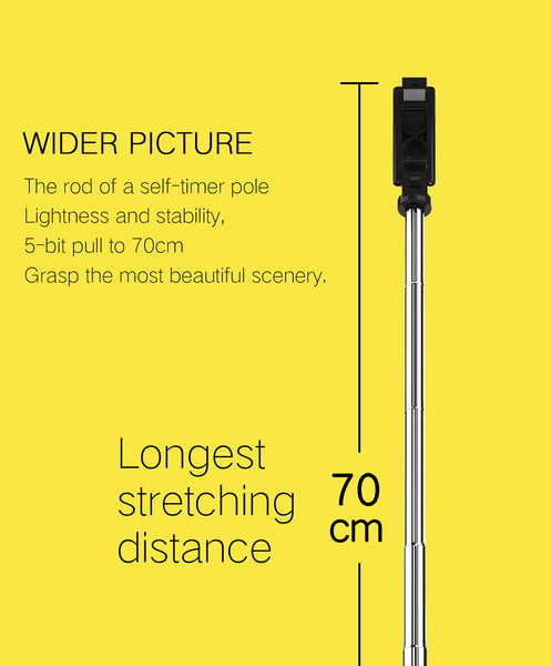 2 in 1 Wireless Bluetooth Tripod Selfie Stick Extendable 70cm Bluetooth