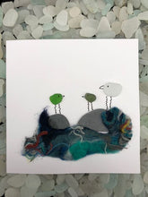 "Load image into Gallery viewer, Folkestone Sea Glass ""Cheeky Birds"" 3 Birds Card - Silver By The Sea - Made In Folkestone"