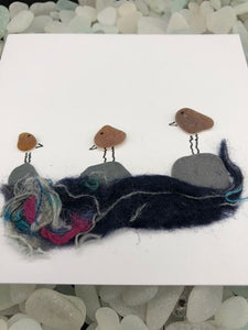 "Folkestone Sea Glass ""Cheeky Birds"" Card In Brown - Silver By The Sea - Made In Folkestone"