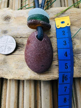 Load image into Gallery viewer, Pebble Pendants With Stacked Sea Glass - Silver By The Sea - Made In Folkestone