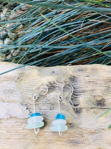 Stacked Folkestone Sea Glass Earrings - Silver By The Sea - Made In Folkestone