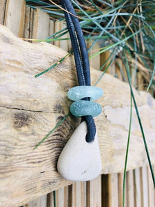Pebble Pendants With Stacked Sea Glass - Silver By The Sea - Made In Folkestone