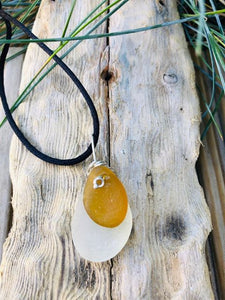Boho Style Sea Glass Pendant On Silk Cord - Silver By The Sea - Made In Folkestone