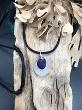 Load image into Gallery viewer, Sterling Silver Spiral Sea Glass Pendant On Black Cord - Silver By The Sea - Made In Folkestone