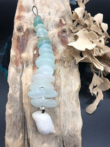 15 Sea Glass Pieces Sun Catcher - Silver By The Sea - Made In Folkestone