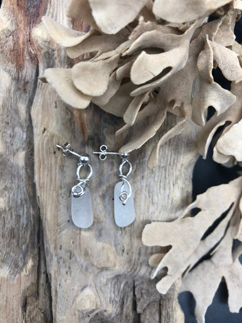 Clear Sterling Silver Spiral Sea Glass Earrings - Silver By The Sea - Made In Folkestone