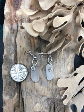 Load image into Gallery viewer, Clear Sterling Silver Spiral Sea Glass Earrings - Silver By The Sea - Made In Folkestone