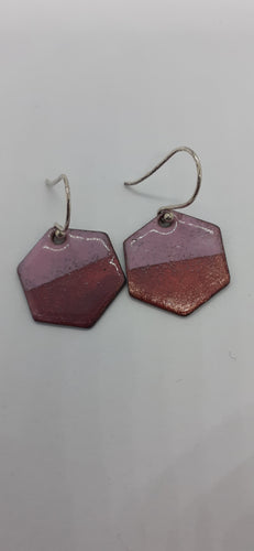 Pink Hexagon Enamel Earrings - Jewellery By Rebecca - Made In Folkestone