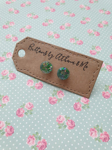 Green Sparkle Buttons - Athena And Me