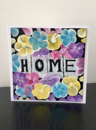 'Home' Hand Painted Unique Greetings Card - Mandy Aldridge