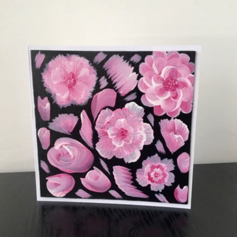 'Pink Flowers' Hand Painted Unique Greetings Card - Mandy Aldridge - Made In Folkestone