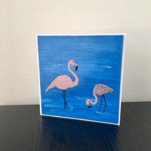 'Flamingos' Hand Painted Unique Greetings Card - Mandy Aldridge - Made In Folkestone
