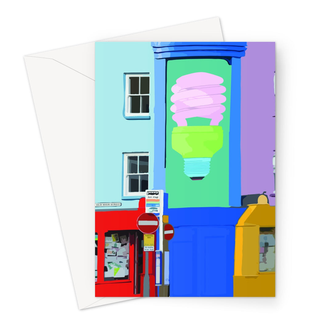 Folkestone Light Bulb Greeting Card - Made In Folkestone