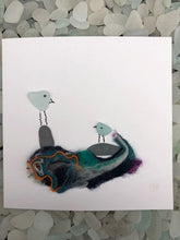 "Load image into Gallery viewer, Folkestone Sea Glass ""Cheeky Birds"" Card With 2 Birds - Silver By The Sea - Made In Folkestone"