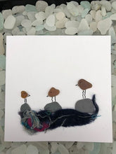 "Load image into Gallery viewer, Folkestone Sea Glass ""Cheeky Birds"" Card In Brown - Silver By The Sea - Made In Folkestone"