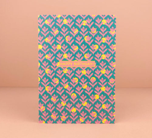'Birthday Pink Lino' Greetings Card - Luna May