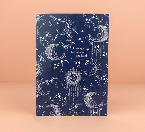'I Love You To The Moon and Back' Greetings Card - Luna May