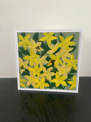 'Busy Bees' Hand Painted Unique Greetings Card - Mandy Aldridge - Made In Folkestone