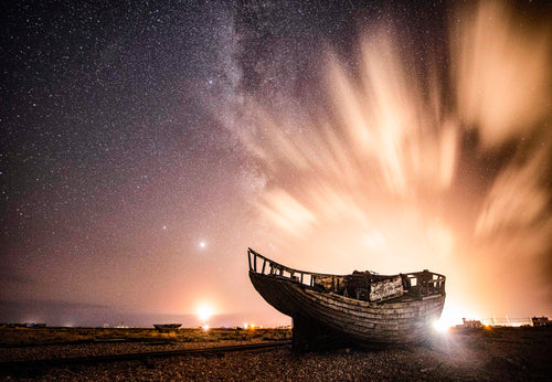 Abandoned Fishing Boat With Night Lights - Dirk Seyfried