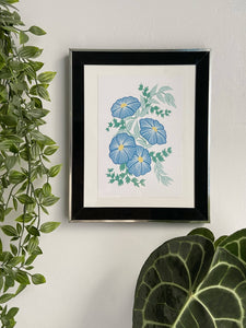 Royal Blue Floral Print - Lucy Hunter Illustration - Made In Folkestone