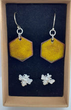 Load image into Gallery viewer, enameled drop earings and sterling silver bee studs set.